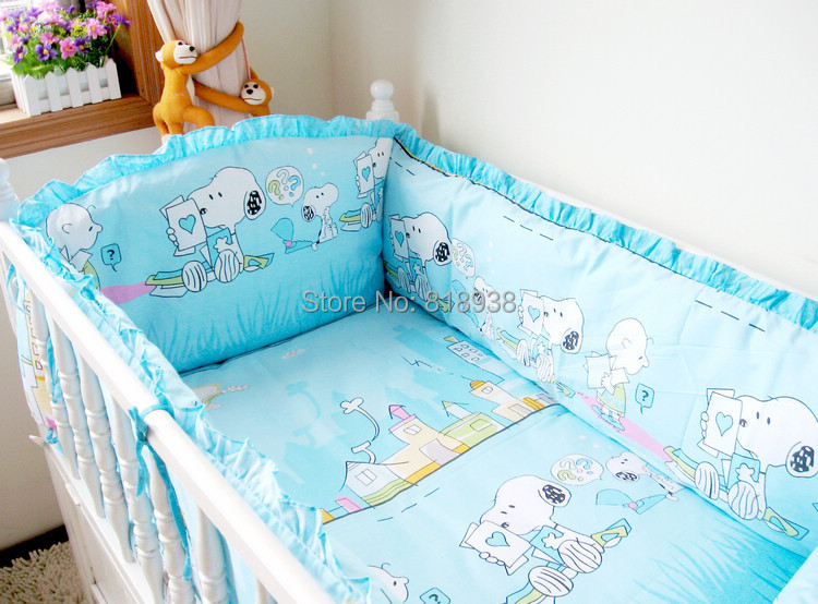 Free Shipping Baby Newborn Bedroom Bed Crib Cot Bedding Sets Sheets Sleeping Protection Lovely Cartoon 5Pieces 100% Cotton<br><br>Aliexpress