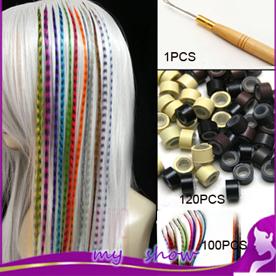 """16""""100 Pcs/Lot Long Straight Feather Hair Extensions Lady DIY Grizzly Rooster Stripe Loop Ring Hairpiece+120 Beads+ 1 Hook(China (Mainland))"""