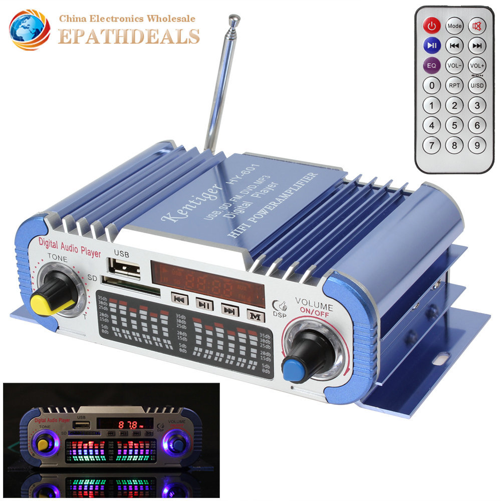 HY601 Hi-fi Mini Digital Motorcycle Auto Car Stereo Power Amplifier Sound Mode Audio Music Player Support 2 Channel USB FM SD(China (Mainland))