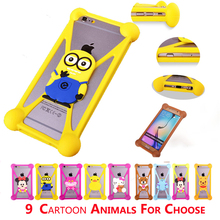 Universal 3.7-6 Inch Cell Phone Model Cartoon (Minny Teddy Bear Minion etc.)Soft Silicone Case For Lenovo Vibe P1 5.5inch