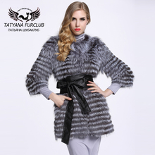 Hot Sale New Spring Women Genuine Silver Fox Fur Coats Jackets Natural Fur Waistcoats Women's Fur Fashion Striped Style BF-C0006(China (Mainland))
