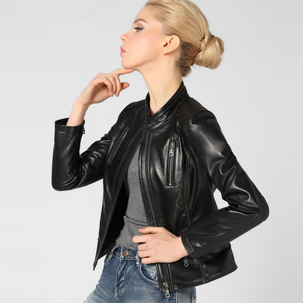 leather jacket women's 2015 Spring  Autumn Winter Black Streetwear Full Regular Genuine Leather Motorcycle clothing Woman QLL113
