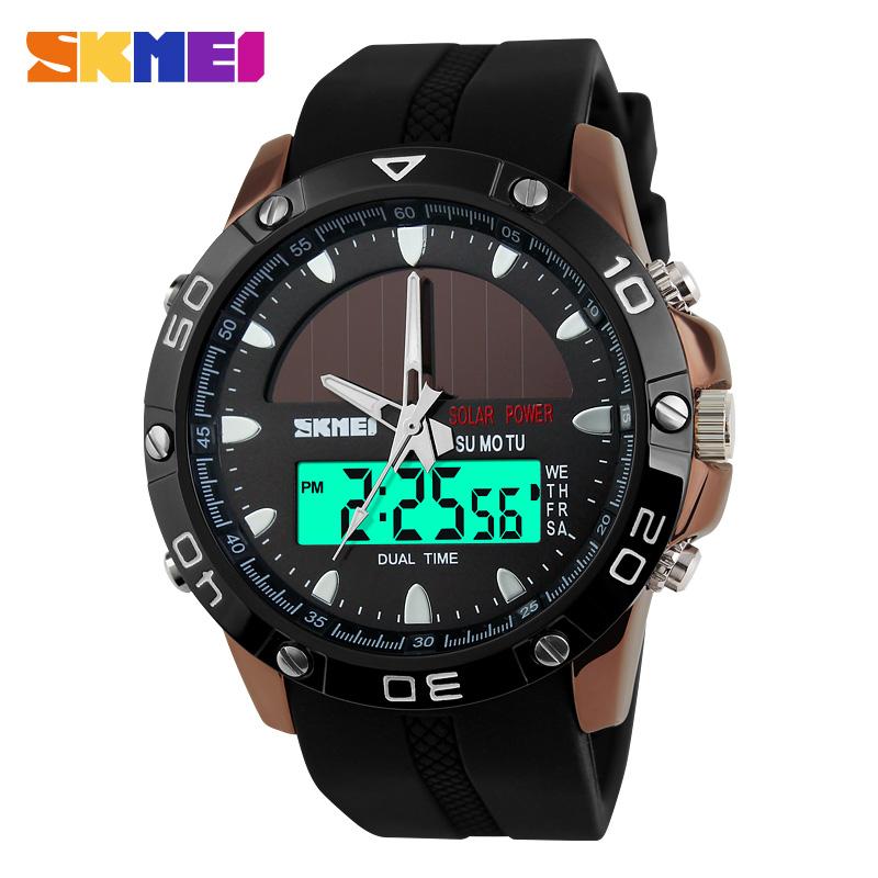 2016 новый SKMEI марка солнечной энергии часы цифровые кварцевые мужские спортивные часы многофункциональный открытый военный платье наручные часы