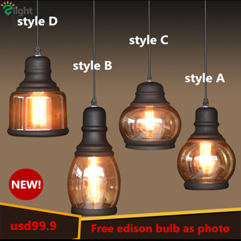 New Fashion 1 Head Loft Plated Glass Led Pendant Light Painted Iron Edison Hanging Lamp(China (Mainland))