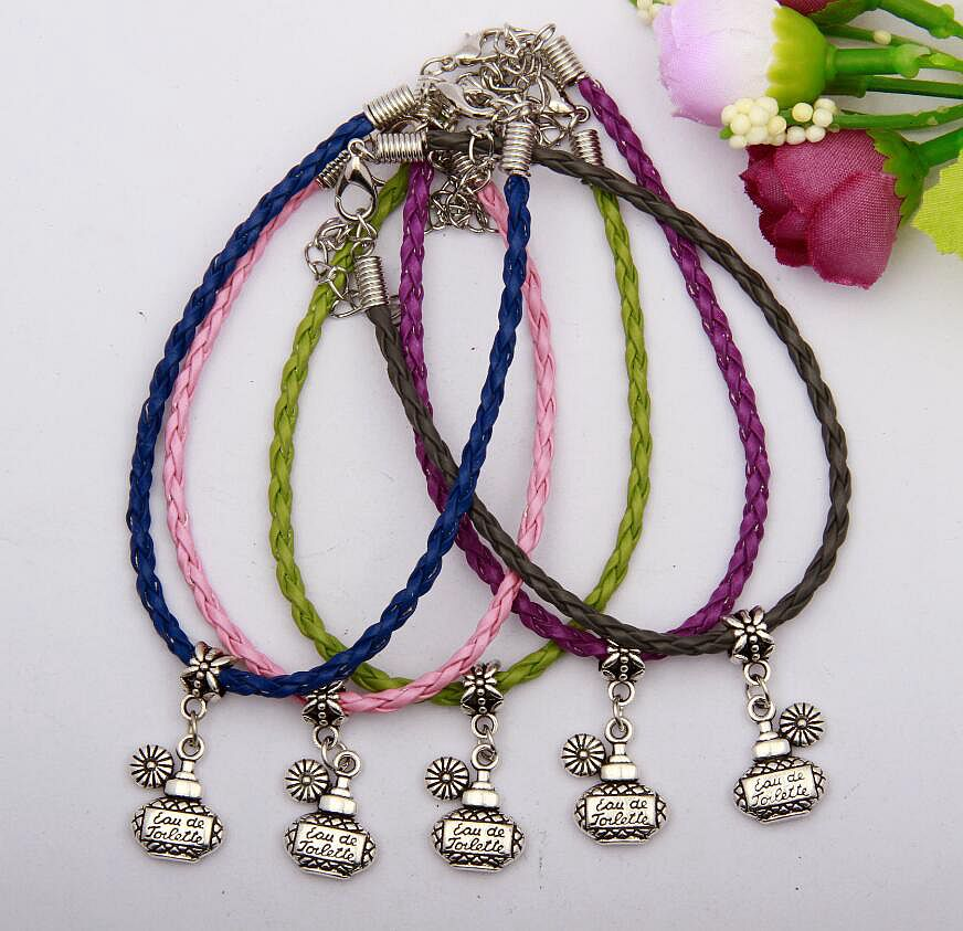 Zinc Alloy Silver Perfume Bottle Charms Multicolor Braided Rope Protection Good Luck Bracelets DIY Jewelry Women&Men 50pcs N098(China (Mainland))