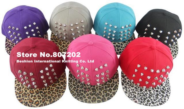 2014 Womens Punk Rock Rivets studded  hat Spikes hat unisex Baseball Caps black golden hiphop hip-hop flat leopard print  hats