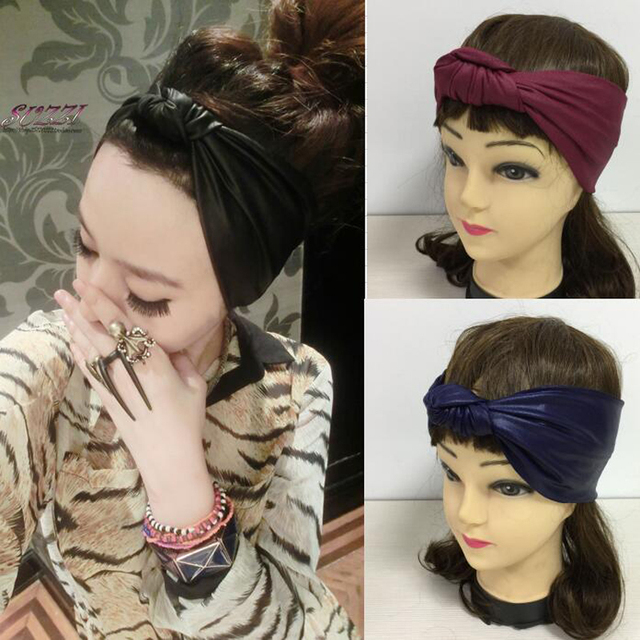 Faux Leather Elastic Headband High Quality Imitation Leather Bow Hairbands Female Spring And Summer Bow Bandanas Black Blue Red