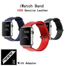 100% cuero genuino lazo venda de reloj para Apple reloj Iwatch 38 mm 42 mm correa muñequera para Apple seguir / deporte / Edition + banda adaptador
