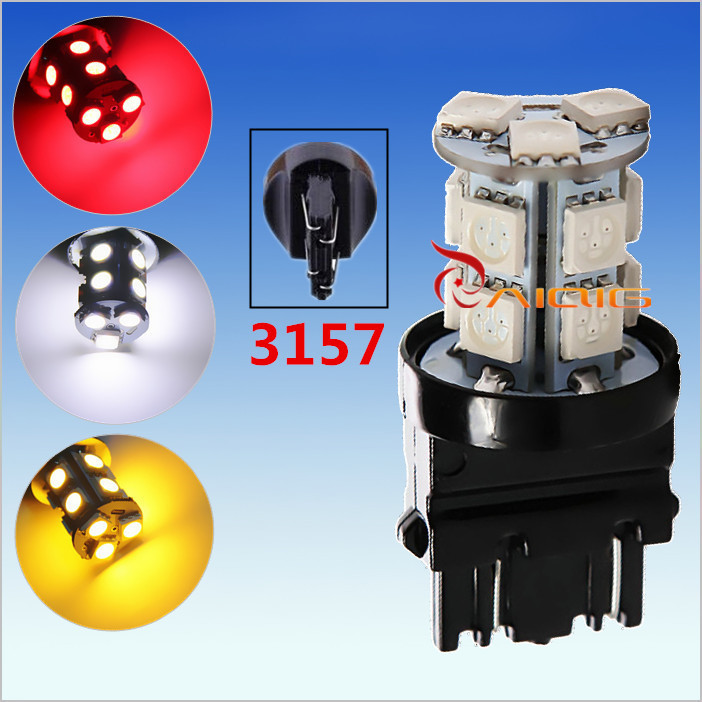 3156 3157 Red,White,Amber Yellow, 13 SMD 5050 LED Car Bulbs Lamp Auto p27/7w led parking 12V Front rear brake Lights(China (Mainland))