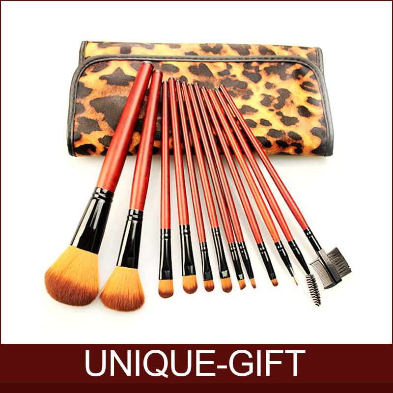 2015 New Hot SALE mc Makeup Tools Synthetic Hair 12 Pcs mc Makeup Brushes Red Handel with Leopard Bag Beauty(China (Mainland))