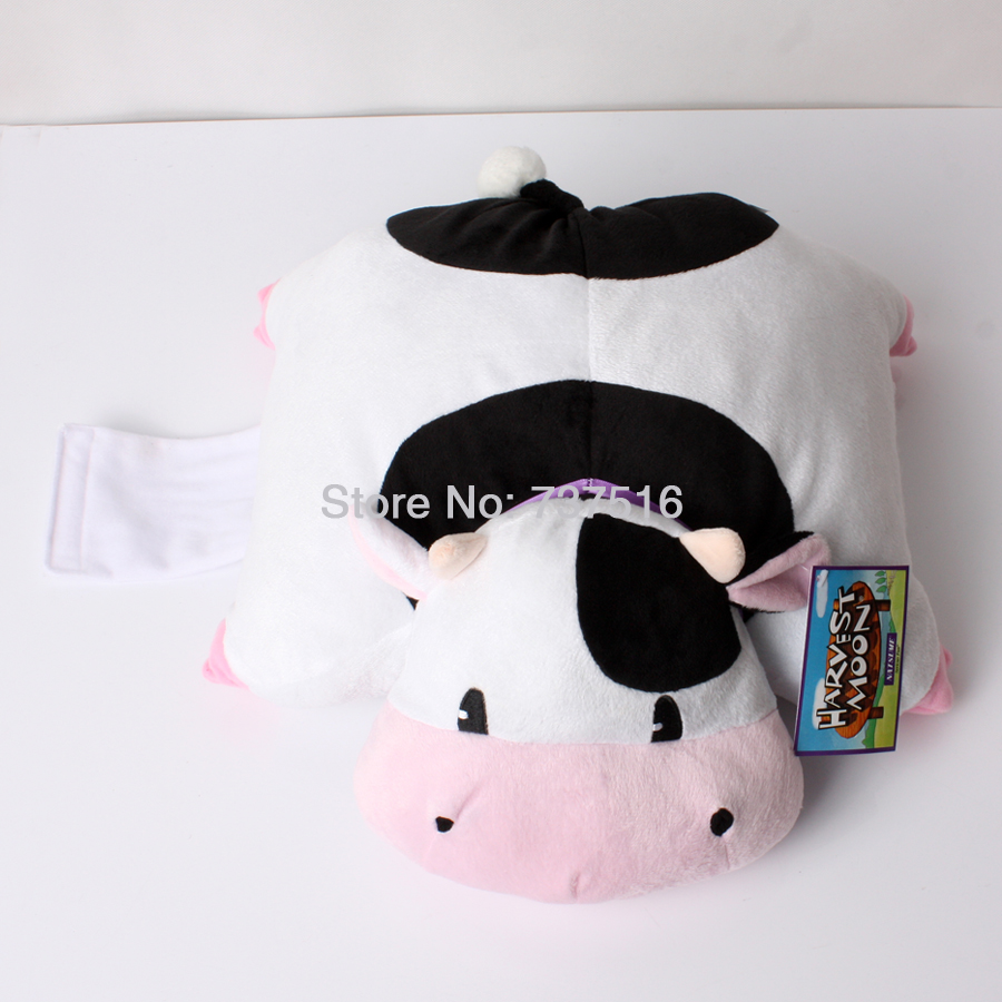 New Harvest Moon Black and White with Pink Mouth Cow 12'' Plush Animals Pillow Soft Plush Cushion Stuffed Doll Toys Gift(China (Mainland))