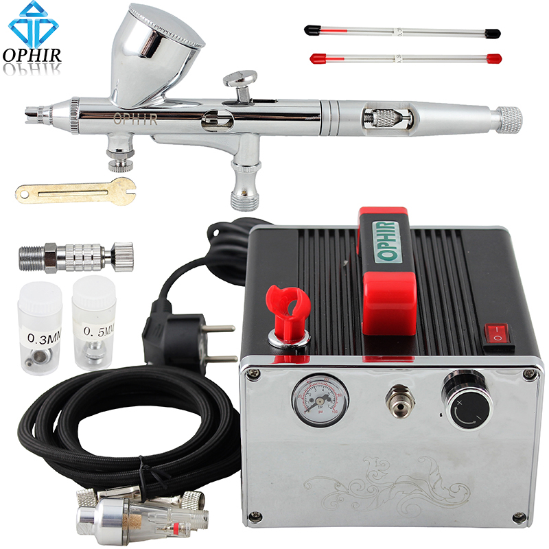 OPHIR 0.2mm 0.3mm 0.5mm PRO Dual Action Airbrush Kit with Air Compressor for Nail Art/Makeup/Body Tattoo/Model Paint_AC091+AC070(China (Mainland))