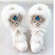 Real de piel de conejo de diamantes de imitación de diamante moda nieve gruesa caliente forma de bota zapatos de gran tamaño 40 41(China (Mainland))
