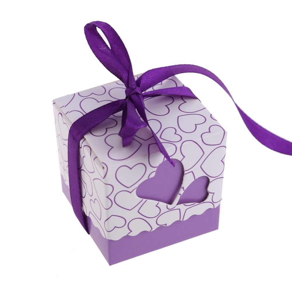 EA14 100Pcs Hollow Out Love Wedding Boxes Gift Favor Candy Box w/ Ribbon Purple(China (Mainland))