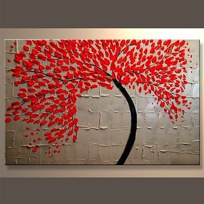 Modern Abstract Art Stretched Canvas Oil Painting Wall decor picture Red Accent - chuanxia chuan's store