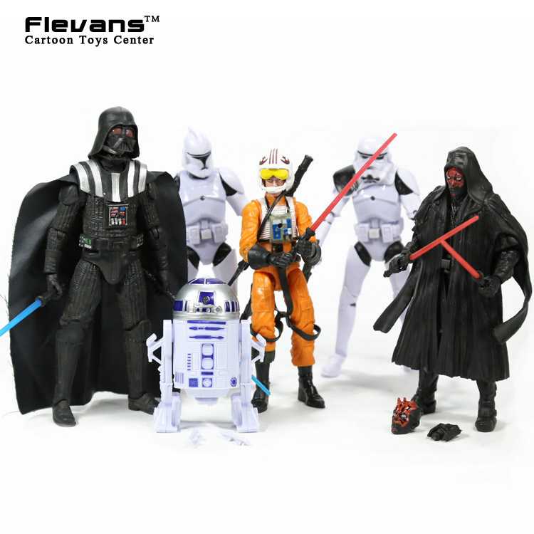 Гаджет  Star Wars Stormtrooper Darth Vader R2D2 PVC Action Figures Collectible Model Toys 6pcs/set SWFG061  None Игрушки и Хобби