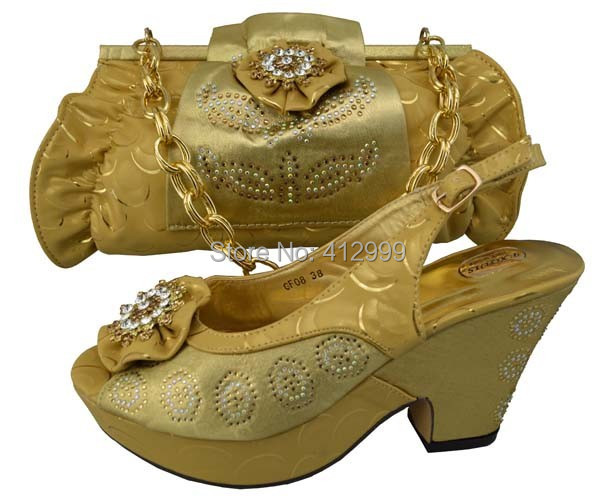 Fashion Gold Dress Shoe And Bag To Match In 2014 Hot Sale Matching Set Of Shoe And Bag-in Women ...