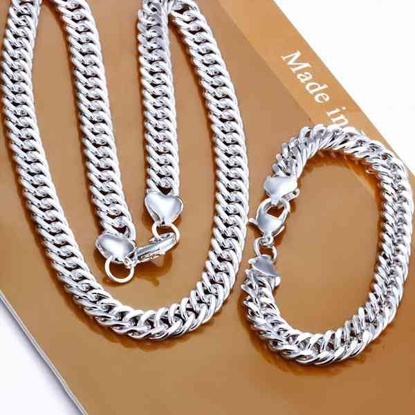 925 Sterling Silver Jewelry Sets, 10mm Twisty Silver Links Chains, Silver Necklace, Silver Bracelet S141(China (Mainland))