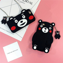 For Apple iPhone SE 5 5S 6 6S 6plus 6Splus Kumamoto bear cute mobile phone case casing diagonal chain lanyard silicone soft ip5