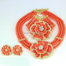 2016 Classic Orange Red Blue Nigerian African Beads Jewelry Set /  Wedding Party Dinner Fashion Dress Jewelry For Women Girls(China (Mainland))