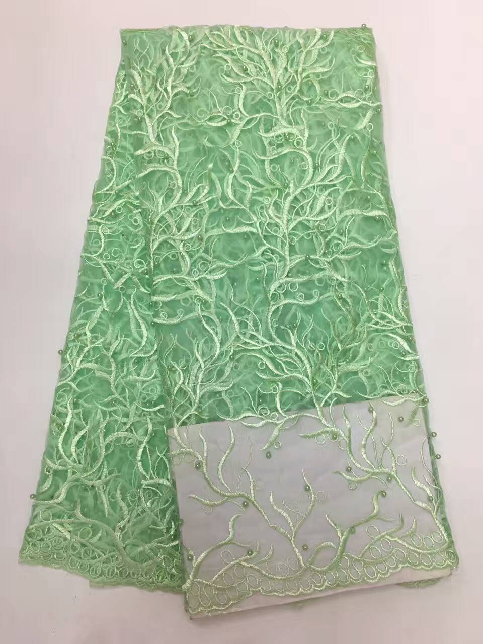 (5yards/lot)9colors 2017 new french lace fabric tulle lace embroidered with pearls in apple green for wedding sewing Dec-19-2016(China (Mainland))