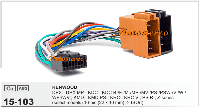 Autostereo 15-103 ISO standard HARNESS FOR KENWOOD DPX-; DPX MP-; KDC-; KDC B-/F-/M-/MP-/MV Car Radio Harness Radio Wire Adapter(China (Mainland))