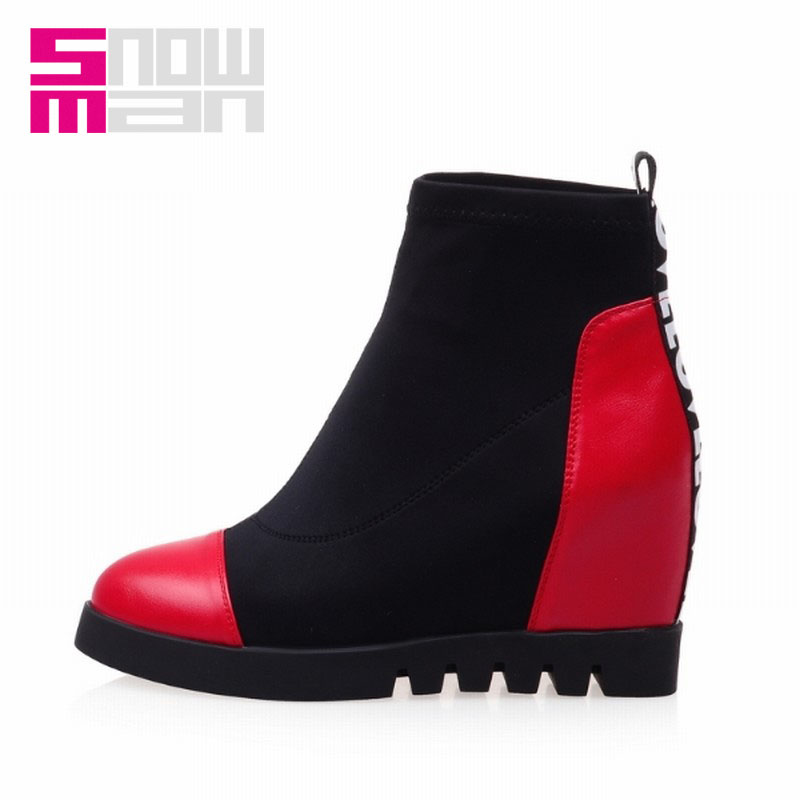 Women's Shoes Zapatos Mujer Women Boots Slip on Patch Color Letters Ankle Boots Platform Shoes Woman Hidden Wedges Spring Boots