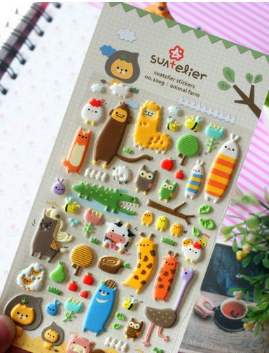 New 1 pcs/set cute animal garden style 3D sticker/mobile sticker/Decoration label/Wholesale<br><br>Aliexpress