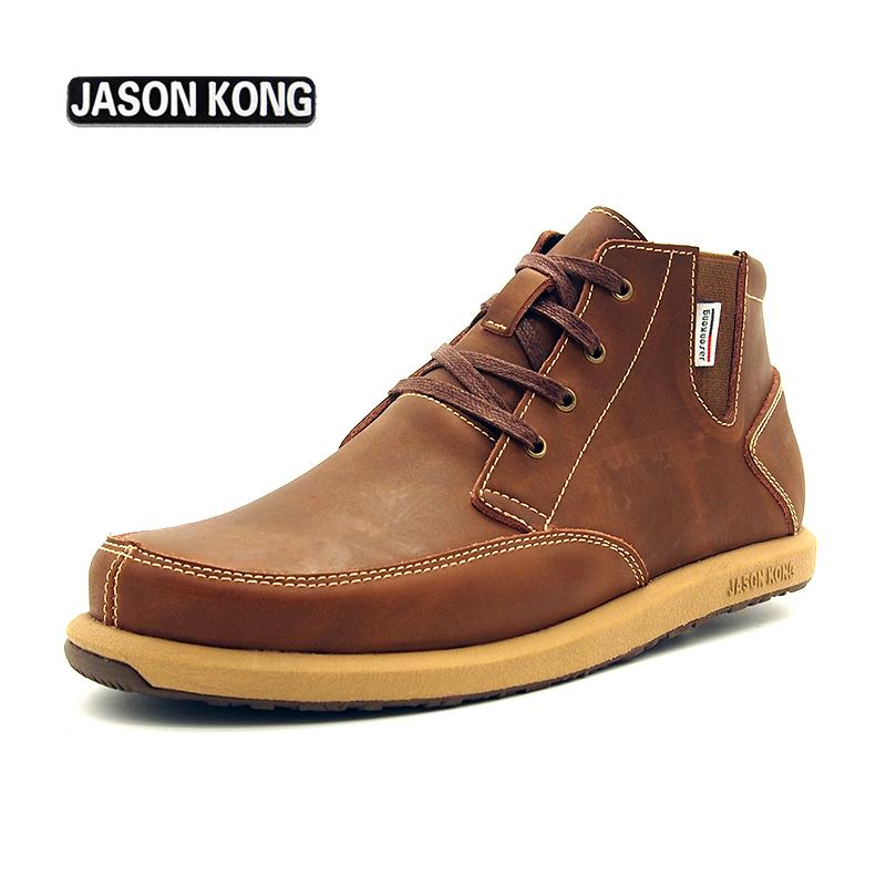 Jason Kong Brand Design leisure Men boots Fashion Martin Boots Genuine Leather Shoes Men's Fashion Casual Shoe men martens boots(China (Mainland))