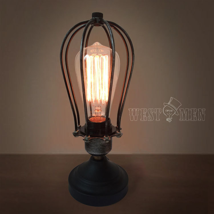 Buy Vintage Industrial Dimmer Metal Wire Cage Table Lamp