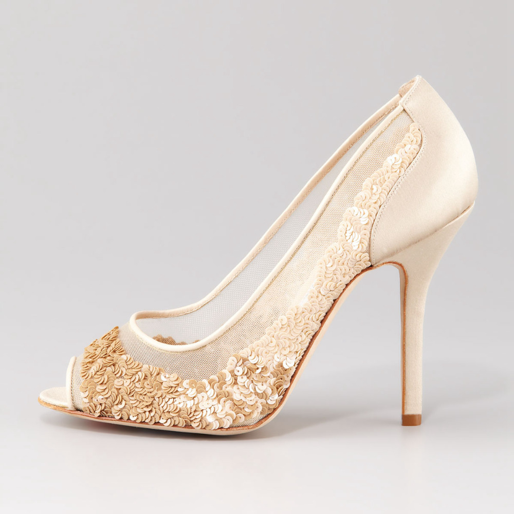Kitten Heel Peep Toe Pumps