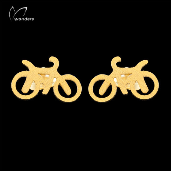30pairs/lot 2015 Stainless Steel Jewelry Punk Cool Bicycle Stud Earrings in Gold/Silver<br><br>Aliexpress
