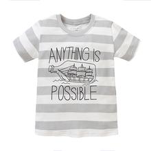Baby T-shirt Boy Short Sleeve T-shirt Dark White Gray Stripe T-shirt Little Boy Summer T-shirt 1-6 Years Children Top Shirt Kids
