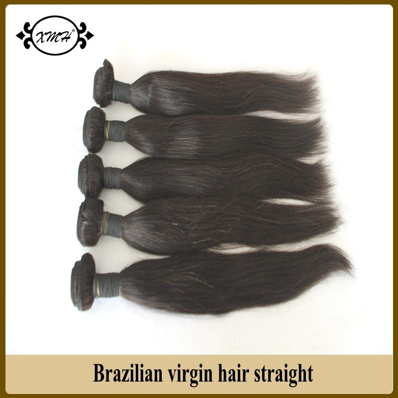 XMH Hair Products 5Pcs Lot Brazilian Virgin Hair Straight Grade 6A 100% Brazilian Human Hair Weave Bundles 8-30 Free Shipping<br><br>Aliexpress