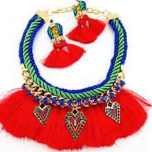 Sets Statement Necklace Earrings Statement Necklace Braided Cotton Cord Necklaces & Earrings Sets 2015 NEW Women Fashion Jewelry(China (Mainland))