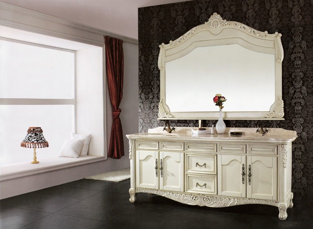 white antique double sink bathroom vanityin Bathroom Vanities from Home Impr -> Armario De Banheiro Mobly
