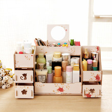 New Wood Makeup Organizer Diy Make Up Organizer for Cosmetics Sundries 30*20*20CM Wooden Drawer Storage Box Colorful Organizador