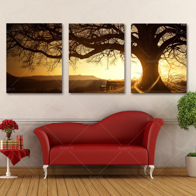 3 panel modern printed tree canvas wall decor art picture for Colores de pintura para sala