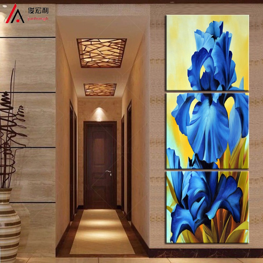 Modular 3 Piece Canvas Wall Art Wall Pictures Oil Painting blue Flowers Home Decorative Art Picture Print On Canvas(No Frame)(China (Mainland))