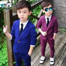 2015 New Child Blazers Suits Buying 2-12T Boy Clothing sets Coat + Pant Baby Costumes Solid Blue/Purple Kids Garment Purple(China (Mainland))