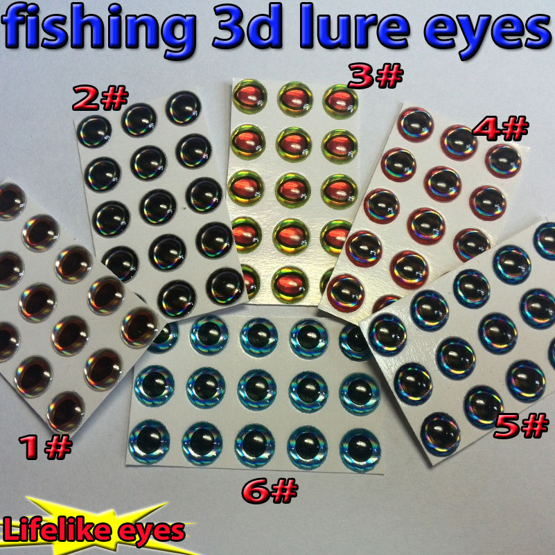 2015 new arrivals!!! fishing 3d lure eyes artificial fly eyes 6 kinds of mixed loading 1#+2#+3#+4#+5#+6#=1200pcs/lot(China (Mainland))