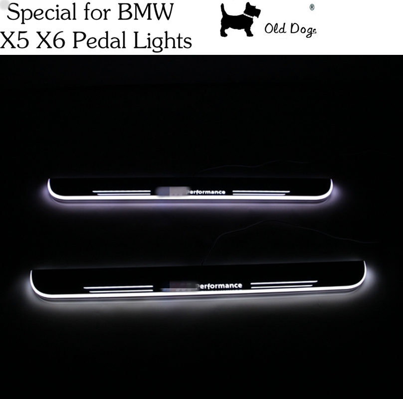 2 Pcs for BMW X5 E70 X6 E71 Car Styling LED pedal light pathway light Moving Door Scuff Door Sill Plate Cover Side Step lamp