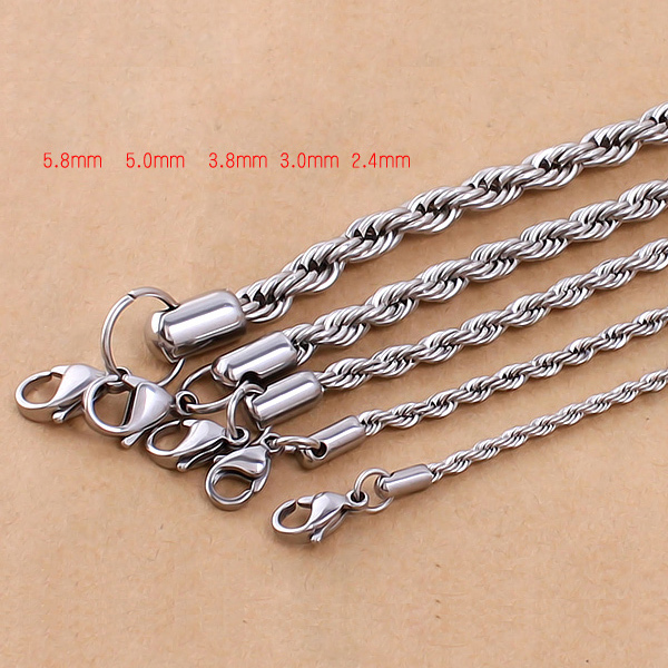 2/3/4/5/6mm*50cm Vintage 316L stainless steel Rope chain link necklace jewelry for men and women(China (Mainland))