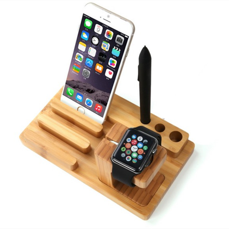 Novelty Muti-function Bamboo Stander Holder for Apple Watch iPhone 5 5s 6 6Plus iPad Tablet Office Desk Accessories(China (Mainland))