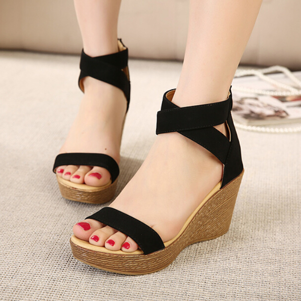Hot 2015 High Heels Women Flip Flops Summer Sandals Platform Wedges Shoes Open-toed sandals - good luck 777 store