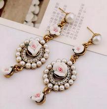 Factory Price  New Flower 2015 Drop Dangle Earrings Rhinestone Bohemia Pearl Jewelry Vintage Women Earrings Sfe-20(China (Mainland))