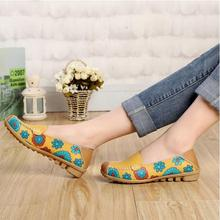 2015 new autumn Breathable Genuine Leather Flat Casual Leather shoes Soft bottom Pregnant woman Peas shoes