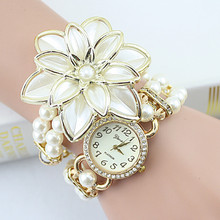 Hot Sale Flowers Double Pearl Bracelet Watch & High Quality Electronic Wrist Watches & Women Watches Top Brand Luxury 2015