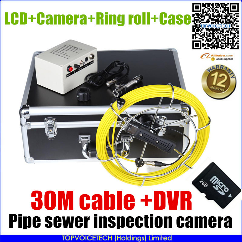 """30m cable 7"""" TFT Sewer Waterproof Camera Pipe Pipeline Drain Snake video Inspection System DVR factory guarantee(China (Mainland))"""