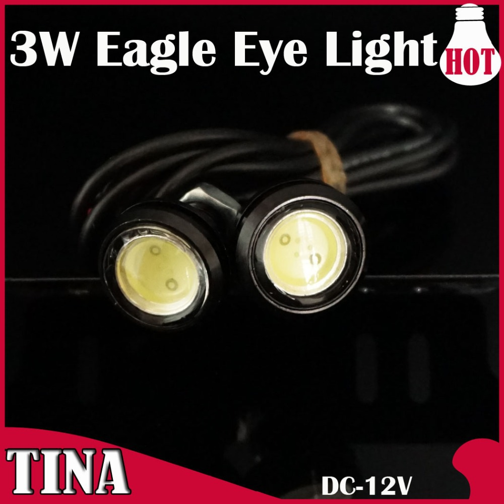 One Pair DIY 3W High Power LED Larger Lens Ultra-thin car led Eagle Eye White Red Green bule Pink Tail light Backup Rear Lamp - TINA-LED company store